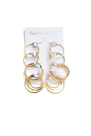 201-4-3-AE2394G MULTI SIZE HOOP EARRINGS/12PCS