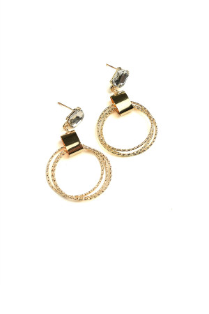 201-4-4-AE3211 STONE HOOP EARRINGS/12PCS