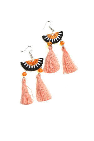 203-1-4-IER2699 DOUBLE TASSEL DESIGN DROP EARRINGS/12PCS