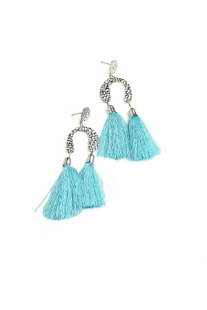 203-1-4-IER2705 DOUBLE TASSEL DESIGN DROP EARRINGS/12PCS