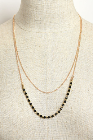 202-4-3-LKN67099 STONE & PEARL DOUBLE LAYER NECKLACES/12PCS