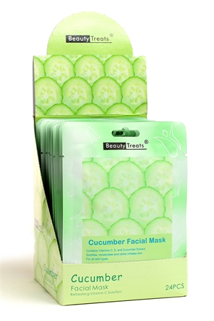 211-1-3-203C CUCUMBER FACIAL MASKS/24PCS