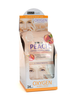 211-1-2-204-P0 BEAUTY TREATS PEACH OXYGEN BUBBLE MASKS/24PCS