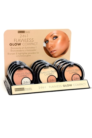 211-1-4-309 2 IN 1 FLAWLESS GLOW COMPACTS/12PCS