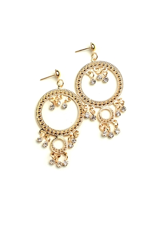 204-1-3-ER6356 STONE HOOP DESIGN EARRINGS/12PCS