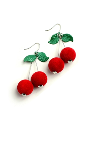 205-1-5-ER6133 CHERRY DESIGN EARRINGS/12PCS