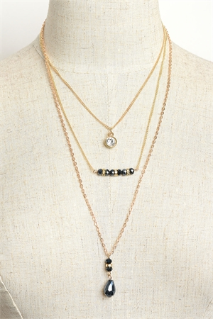 203-4-3-NK575 STONE TRIPLE CHAIN NECKLACES/12PCS