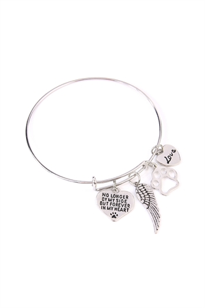 S7-5-4-AMYB1015BSR SILVER WINGS OF LOVE CHARM BANGLE BRACELET/6PCS