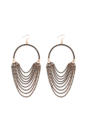 S6-4-3-AMYE1021GDBK-BIB BLACK LAYER HOOK DANGLE EARRING/6PAIRS