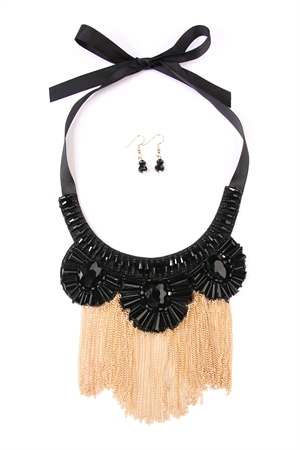S5-6-2-AMYN1017GDBK GOLD BLACK CHAIN TASSEL BIB NECKLACE AND EARING SET/6SETS