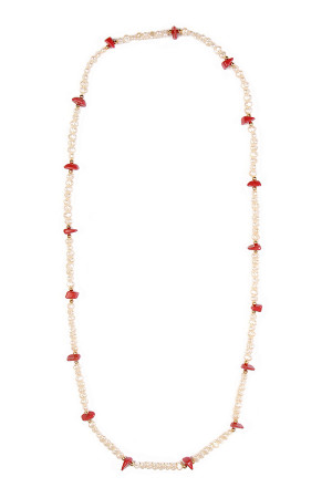 S6-5-3-AN1070WTRD WHITE RED NECKLACE/12PCS