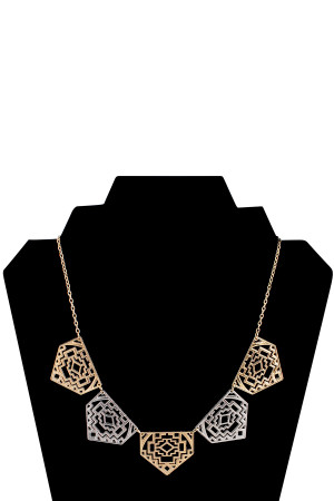 S5-5-4-AXNK1196GDSL GOLD SILVER NECKLACE/6PCS