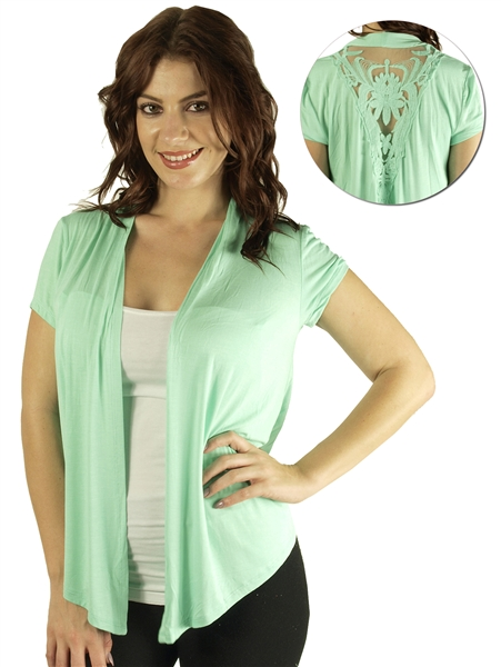 1911N-GT357-Aqua-Mint- Ladies Short Sleeve Fly Away Cardigan w ...