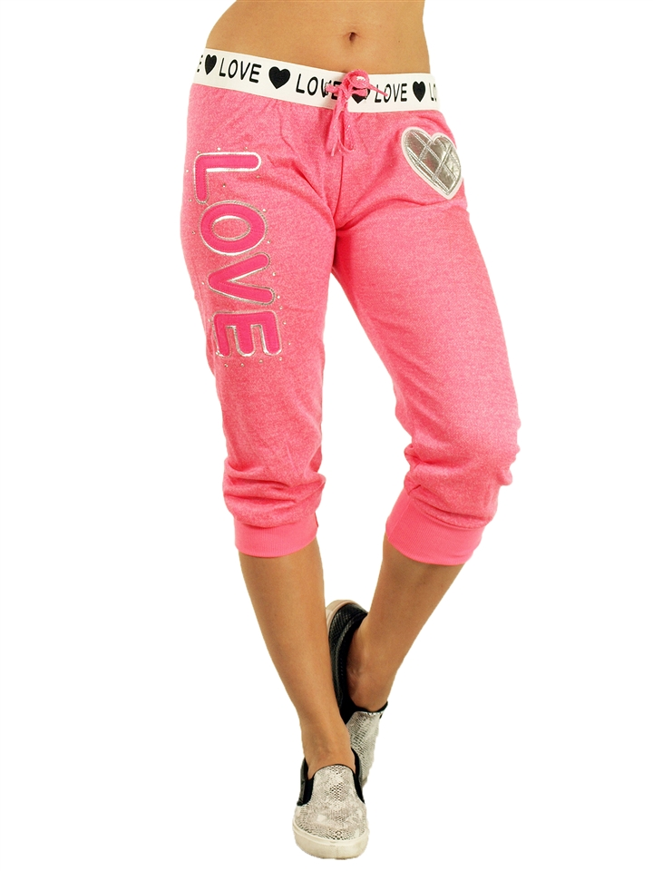 1938N2- FT022-Pink- Ladies French Terry Drawstring Jogger Capris with  Applique, Rhinestones and Printed Waistband ...
