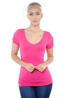 3097N-1657-Fuchsia-Women's V Neck Cap Sleeve Lace Top/ 2-2-2