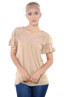 3097N-1778-Camel-Women's Lace Short Sleeve Top / 2-2-2