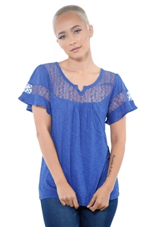 3097N-1778-Ink Blue-Women's Lace Short Sleeve Top / 2-2-2