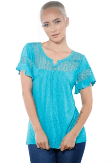 3097N-1778-Peacock-Women's Lace Short Sleeve Top / 2-2-2