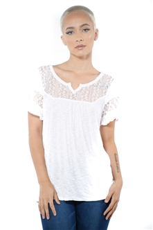 3097N-1778-White-Women's Lace Short Sleeve Top / 2-2-2