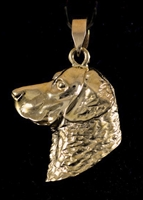 14KT GOLD CHESAPEAKE BAY RETRIEVER HEAD PENDANT