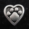Heart Paw pin Pewter