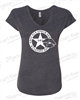LADY KOPS HEATHER DARK GREY V-NECK