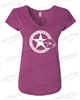 LADY KOPS HEATHER RASPBERRY V-NECK