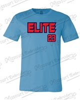 Elite Baseball T-shirt with front number- Ocean Blue