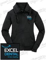 EXCEL DENTAL LADIES FULL ZIP RUCHED COLLAR JACKET