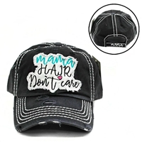 MAMA HAIR DON'T CARE- BLACK HAT