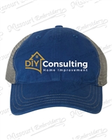 DIY Consulting Royal Blue & Charcoal Garment Washed Trucker Cap