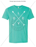 LOVE ARROW HEATHER SEA GREEN T-SHIRT