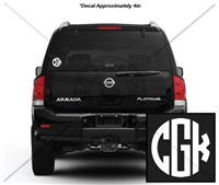 4 INCH CIRCLE MONOGRAM DECAL