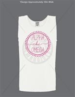 WHITE ALPHA CHI OMEGA DOT DESIGN TANK