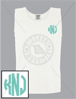 WHITE CIRCLE EMB LC MONOGRAM TANK