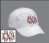 WHITE INTERTWINED MONOGRAMMED HAT