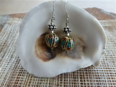 Round Tibetan Turquoise Coral Earrings - Nepal