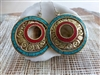 Tibetan Turquoise Coral Disk Earrings - Nepal
