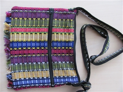 Fringed Satchel, Purple - El Salvador