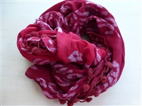 Red Batik Pom Infinity Scarf - India