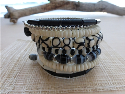 10 Turn Bone and Glass Bead Bracelet