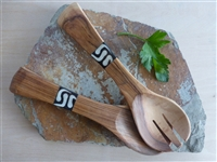 Olive Wood Serving Set with Inlaid Batik Handles - 8 inches in length