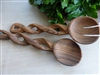 Twisted Olive Wood Serving Set - 8 inches in length