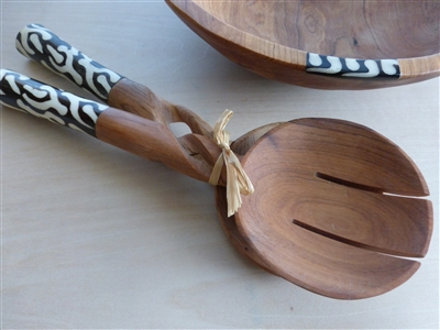 Twisted Wood Salad Utensils with Traditional Bone Inlay - 11 inches in length
