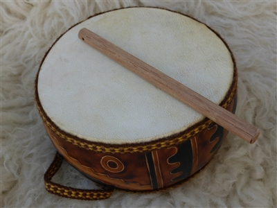 Lambskin Gourd Drum -  6 inch double sided with Drum Stick