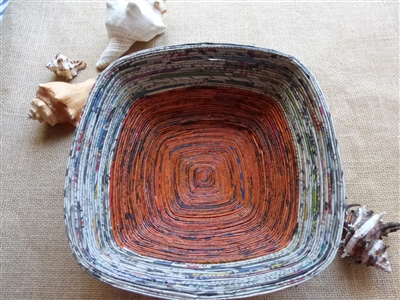 Lacquered Square Newspaper Bowl - Large