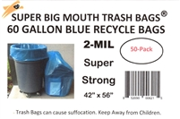 "45 - 55 - 60 Gallon BLUE RECYCLE Trash Bags 42"" x 56"" - 2-MIL - Flat Packed - 50 Bags"