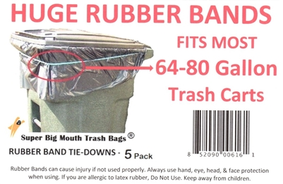 "SUPER BIG MOUTH TRASH BAGS® 23"" RUBBER BANDS Tie-Downs for 64-80 Gallon Trash Carts"