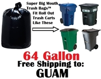 GUAM 64 Gallon Trash Bags Super Big Mouth Trash Bags 64 GAL Garbage Bags