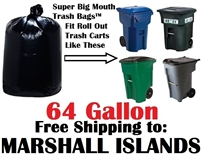the MARSHALL ISLANDS 64 Gallon Trash Bags Super Big Mouth Trash Bags 64 GAL Garbage Bags